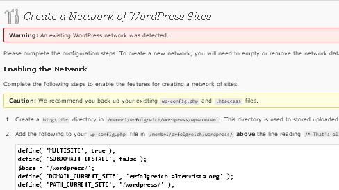 Network: integrare wordpress multi utenti - configurazione