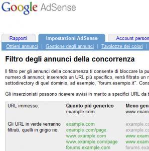 AdSense filtro annunci