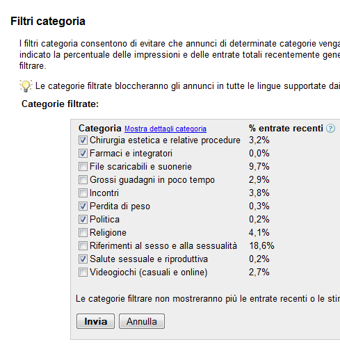 Filtro categoria Google AdSense
