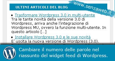 Modificare il numero di parole dell'excerpt del widget feed