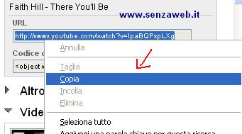 Copiare l'URL del video