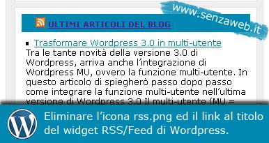 Eliminare icona e link RSS dal widget feed di WordPress